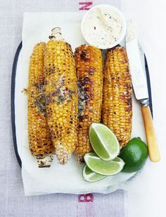 Grilled Corn with Cilantro Butter and Lime. Perfect summertime food.