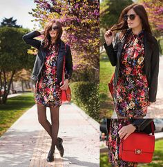 Viktoriya Sener - Mango Jacket, Mango Floral Dress, Braska Brogues, Dior Homme Sunnies, Zara Bag - RED