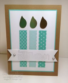 handmade birthday card ... paper pieced candles ... two step bird wing flames ... aqua designer prints ... clean lines ... Stampin' Up!