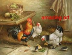 Hen and Rooster Painting   Hand Painted Oil Painting Animals Rooster Hen Chicken   eBay