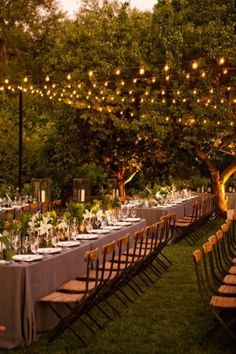 garden lighting & long tables. this is what I want my reception to look like!