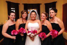 Red & Pink Wedding Flower Bouquets for Bride & Bridesmaids