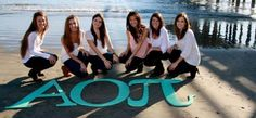 Alpha Omicron Pi on the Beach with Letters #Greek #Sorority #AlphaOmicronPi #AOPi #AOII #Beach