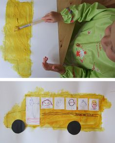 Wheels on the Bus Art Project -- great for practicing staying in the lines and drawing faces