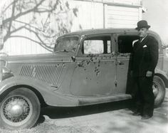 "Ṫ✪Ṫ  THE ""WARRENCAR"": BONNIE & CLYDE'S DEATH CAR""Ruth and Jesse Warren of Topeka, Kansas, bought a 1934 Ford Fordor Deluxe Sedan. They hadn't owned it very long when on April 29th, 1934, Ruth noticed the car was missing. A month later the Warrens were informed the car was in Louisiana, with 160 bullet holes in it after Louisiana lawmen shot and killed Bonnie Parker and Clyde Barrow on a rural road in Gibsland, LA on May 23, 1934. The Warrens had to go to federal court to take back their car."