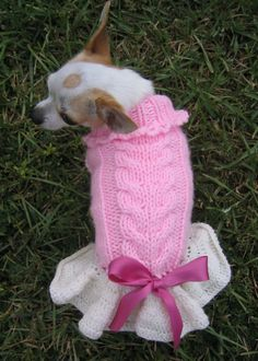Sweet Heart Priness Knitted Dog / Cat Sweater  by NingNingGong,