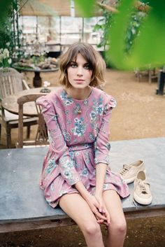 short, polka dots, floral prints, bob, sneaker, outfit, the dress, alexa chung, floral dresses
