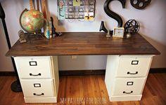 Hometalk :: Pottery Barn Inspired Desk Using Goodwill Filing Cabinets
