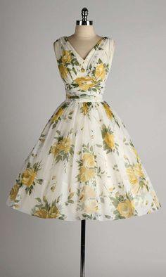 Vintage 1950's White Chiffon Yellow Roses Cocktail Dress