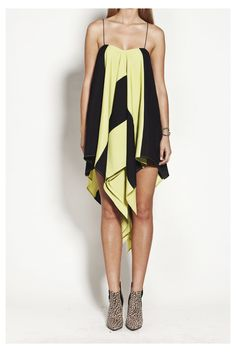 Black and Chartreuse panelled slip dress