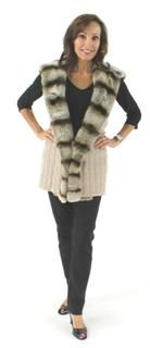 Great Style and Warmth Combined Oatmeal Knit Cashmere and Rex Vest