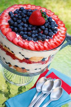 trifle - healthy desert - 4th of july desert