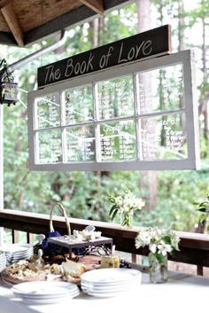 books, idea, seat chart, old windows, window panes, table seating, wedding seating, table numbers, seating charts