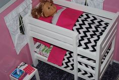 Wooden Doll Bunk Bed for American Girl Doll 18 Doll by Lulliputz, $170.00