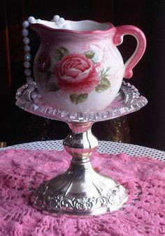 Shabby Roses Jewelry Vase or Centerpiece OOAK by tinkerscottage, $20.00
