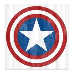 Shower curtains on pinterest shower curtains flash gordon and disney - Captain america curtains ...