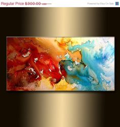 Original Modern Painting Red And Blue by newwaveartgallery on Etsy, $270.00