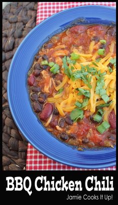 BBQ Chicken Chili from Jamie Cooks It Up! #fallrecipes, #chilirecipes, #jamiecooksitup