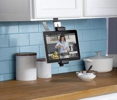 belkin ipad cabinet mount...  We need to get this with the iPad- no need for the tv in kitchen!