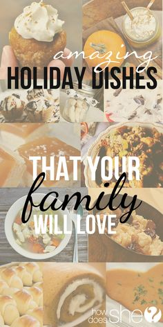 A Collection of our favorite, tried & true Holiday Recipes! From the ham and sauce, to the sweet potatoes, rolls, soup, drinks, brunch, and the best part...dessert! Happy eating! #howdoesshe #holidayrecipes