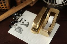 Gold Spray Painted Office Stapler and Tape Dispenser