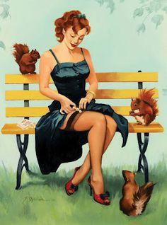 tattoo ideas, fiona stephenson, vintage illustrations, park benches, pin up art