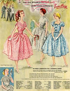 Lovely party fashions from Teena Paige, 1954.