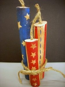 Hand Painted Wood Fireworks (tutorial), Patriotic & 4th of July Crafts