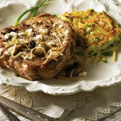 Publix Aprons Simple Meals Pork With Butter Herb Sauce and Zucchini Potato Pancakes