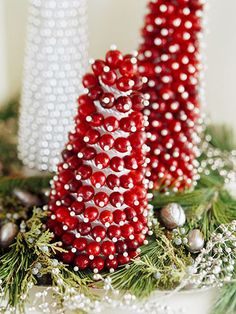 Cranberry Christmas trees centerpiece ~...<3