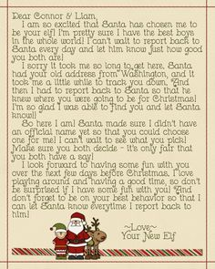 The letter I made when our Elf arrived.  Change things around and make it your own.