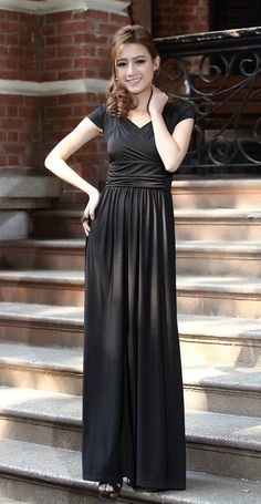 Same dress, cap sleeves!  Black Cap Sleeve Long Evening Gown Bridesmaid Dress by LYDRESS, $42.00