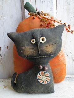 Primitive Grungy Pumpkin and Cat Folk Art Doll Set.