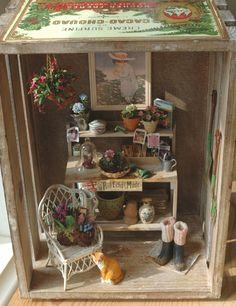 Miniature dollhouses on pinterest dollhouses vintage for Mini potting shed