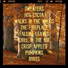 3) favorite season  ---I love autumn