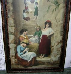Lovely European Scene of Girls on Steps - Two Tone Wood Frame