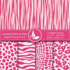 animals, digital papers, paper pack, anim print, digit pattern, animl print, pink, animal prints, digit paper