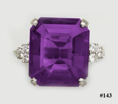 16.25ct Emerald-cut Siberian amethyst, diamond and platinum ring.  J. E. Caldwell.  This is a bold and beautiful Art Deco ring is set with a spectacular Siberian amethyst of deep rich purple color.  The amethyst is flanked by round diamond in hand made platinum.  The ring is signed J. E. Caldwell.  They were Philadelphia's premier carriage trade jeweler.