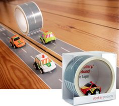 AUTOBAHN TAPE KIT & RACE CAR    Give your kids (or yourself) the coolest race track of all time! Our Autobahn Tape Kit & Race Car allows you to create roads wherever your heart desires! Up a wall, down a desk, across the fridge...  A race track in the kitchen, a highway through the bedroom, and maybe even a toll road in the bathroom!    Tape measures 2 inches wide and 108 feet long. Car included.