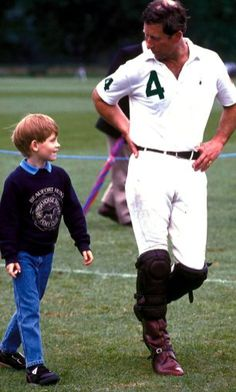 Prince Harry with Prince Charles at polo