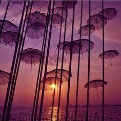 Umbrellas and sunset.