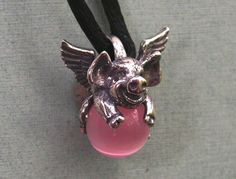 Sterling Silver Flying Pig Pendant With Pink Stone