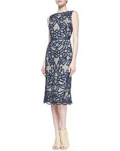 korovilas Abigail Lace boat-neck sheath dress