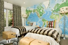 another boys bedroom with travel theme but more masculine