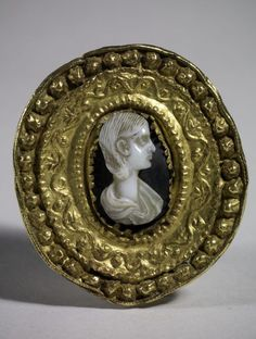 Roman  Brooch with cameo portrait of a woman  3rd century CE  Adornment; jewelry  Gold; shell