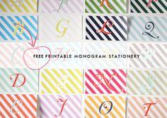 Free Printable Monogram Cards monograms stationery, craft idea, printabl monogram, monogram stationeri, free printabl, diy monogrammed stationary, monograminiti idea, glass tiles, diy projects