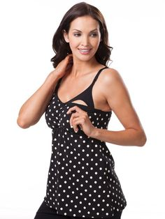 Black polka dot nursing cami