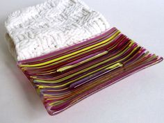Fused Glass Soap Dish in Stripes of Yellow Pink and by bprdesigns, $17.00