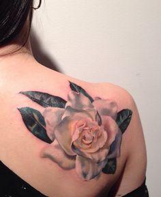 Gardenia tattoo by Amanda Wachob.