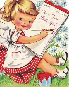 ┌iiiii┐                                                             Vintage birthday card for little girl